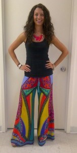 This is my Antillean look as my bf would say, Statement necklace and crazy colorful printed wide leg 'pajama' pants!